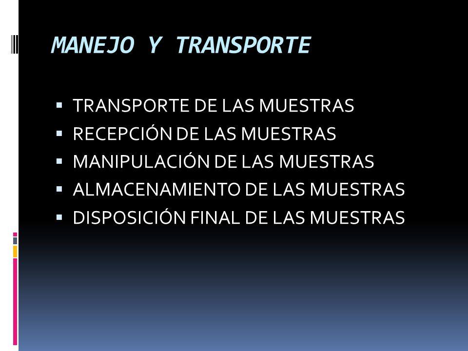 MANEJO Y TRANSPORTE TRANSPORTE DE LAS MUESTRAS RECEPCIÓN DE LAS MUESTRAS MANIPULACIÓN DE LAS MUESTRAS ALMACENAMIENTO DE LAS MUESTRAS DISPOSICIÓN FINAL