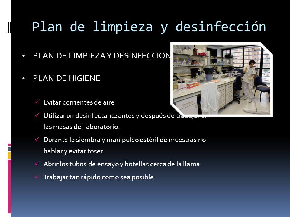 Plan de limpieza y desinfección PLAN DE LIMPIEZA Y DESINFECCION PLAN DE HIGIENE Evitar corrientes de aire Utilizar un desinfectante antes y después de