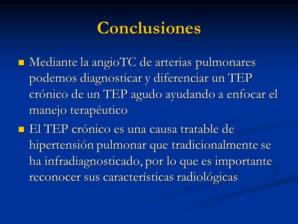 Conclusiones Mediante la angioTC de arterias pulmonares podemos diagnosticar y diferenciar un TEP crónico de un TEP agudo ayudando a enfocar el manejo