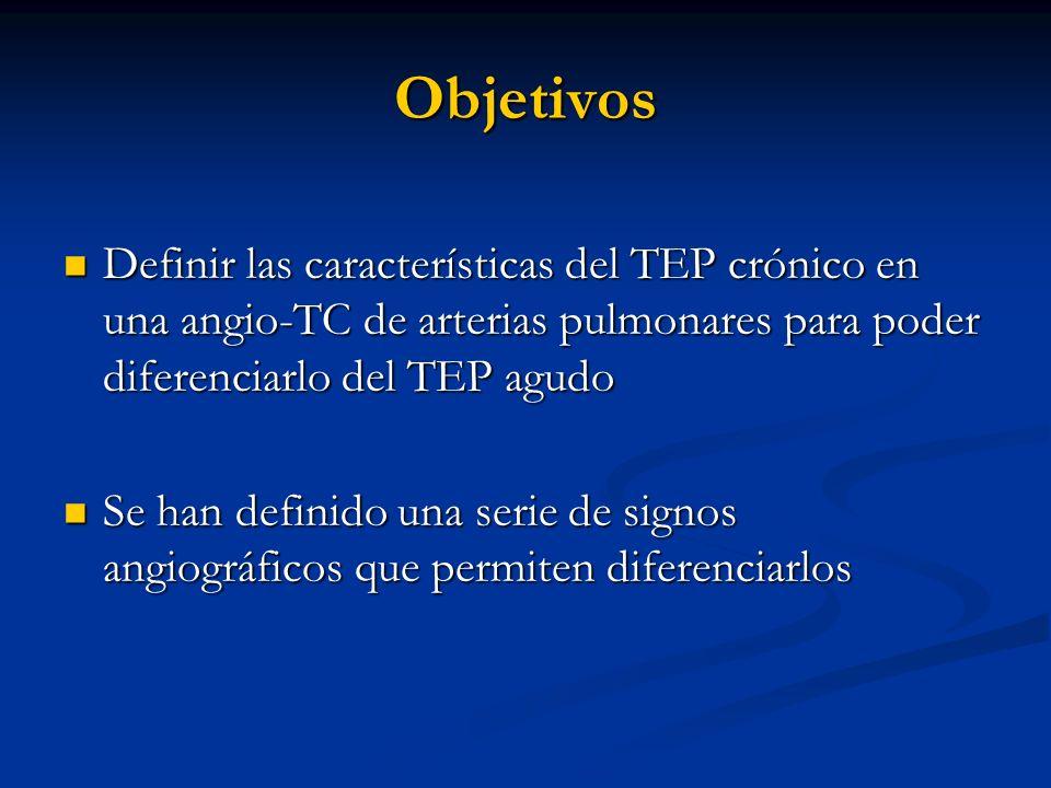 Objetivos Definir las características del TEP crónico en una angio-TC de arterias pulmonares para poder diferenciarlo del TEP agudo Definir las caract