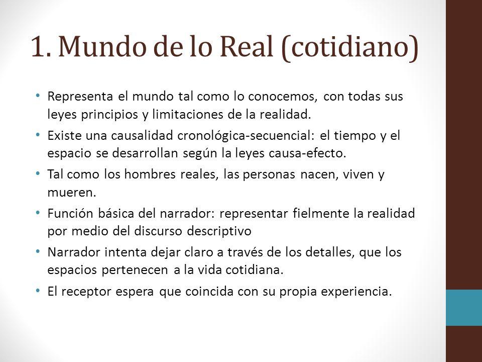 1. Mundo de lo Real (cotidiano) Representa el mundo tal como lo conocemos, con todas sus leyes principios y limitaciones de la realidad. Existe una ca