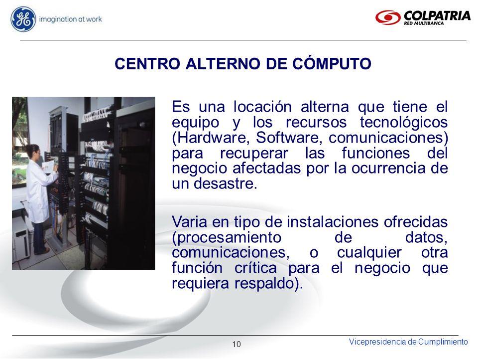 Vicepresidencia de Cumplimiento 10 CENTRO ALTERNO DE CÓMPUTO Es una locación alterna que tiene el equipo y los recursos tecnológicos (Hardware, Softwa