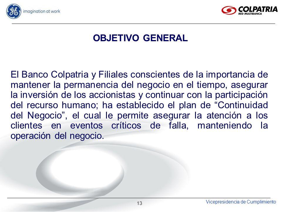 Vicepresidencia de Cumplimiento 13 OBJETIVO GENERAL El Banco Colpatria y Filiales conscientes de la importancia de mantener la permanencia del negocio