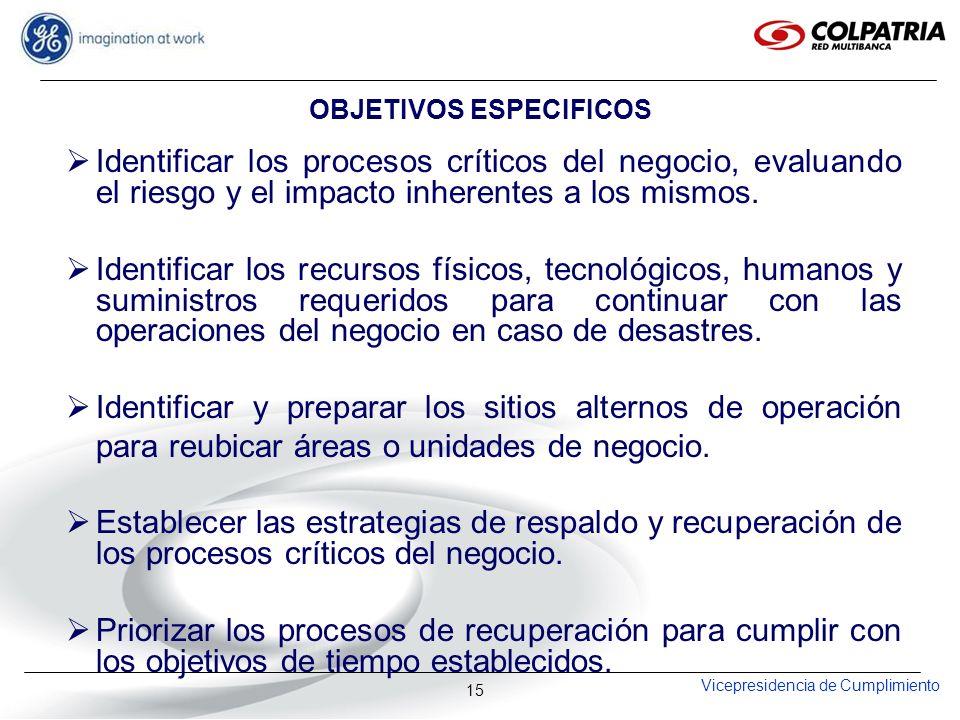 Vicepresidencia de Cumplimiento 15 OBJETIVOS ESPECIFICOS Identificar los procesos críticos del negocio, evaluando el riesgo y el impacto inherentes a