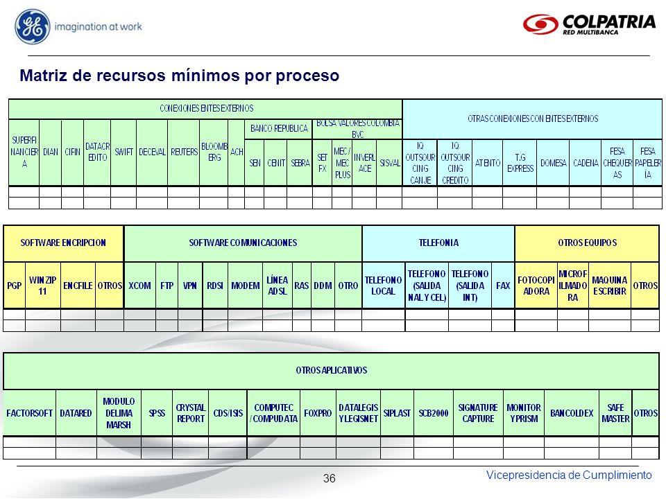 Vicepresidencia de Cumplimiento 36 Matriz de recursos mínimos por proceso
