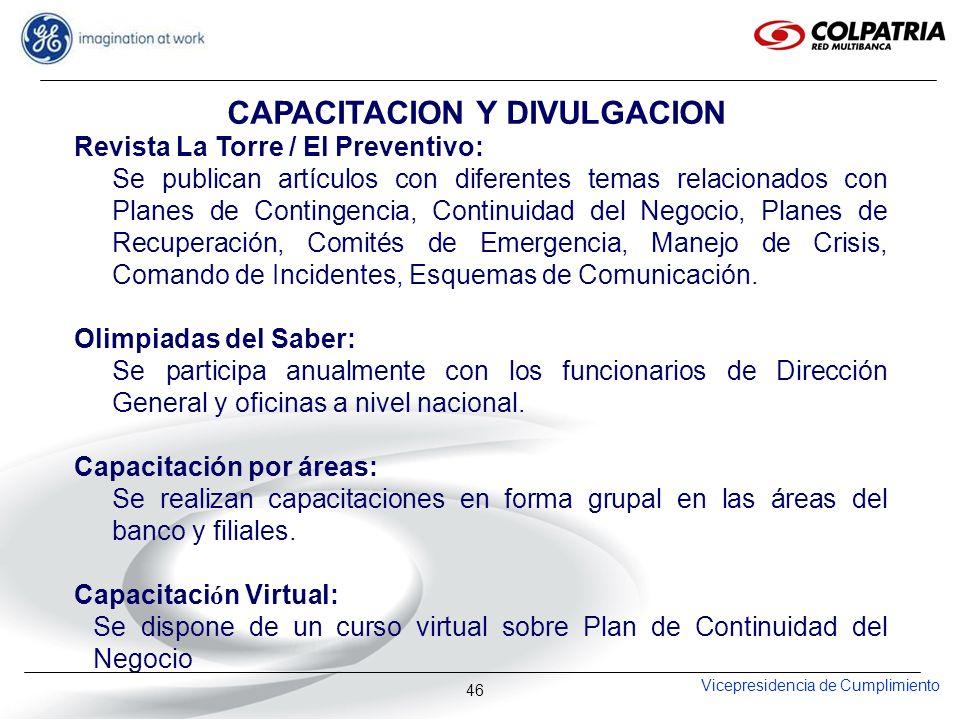 Vicepresidencia de Cumplimiento 46 Revista La Torre / El Preventivo: Se publican artículos con diferentes temas relacionados con Planes de Contingenci