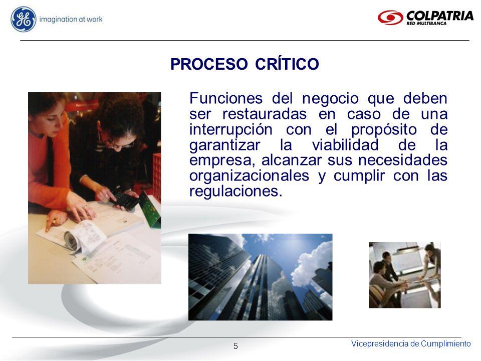 Vicepresidencia de Cumplimiento 16 OBJETIVOS ESPECIFICOS Documentar y dar a conocer los procedimientos de recuperación al personal responsable de la ejecución de los procesos críticos.