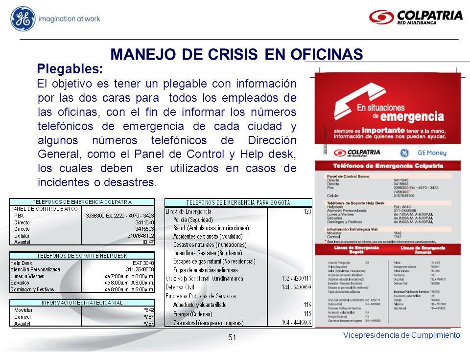 Vicepresidencia de Cumplimiento 51 MANEJO DE CRISIS EN OFICINAS Plegables: El objetivo es tener un plegable con información por las dos caras para tod