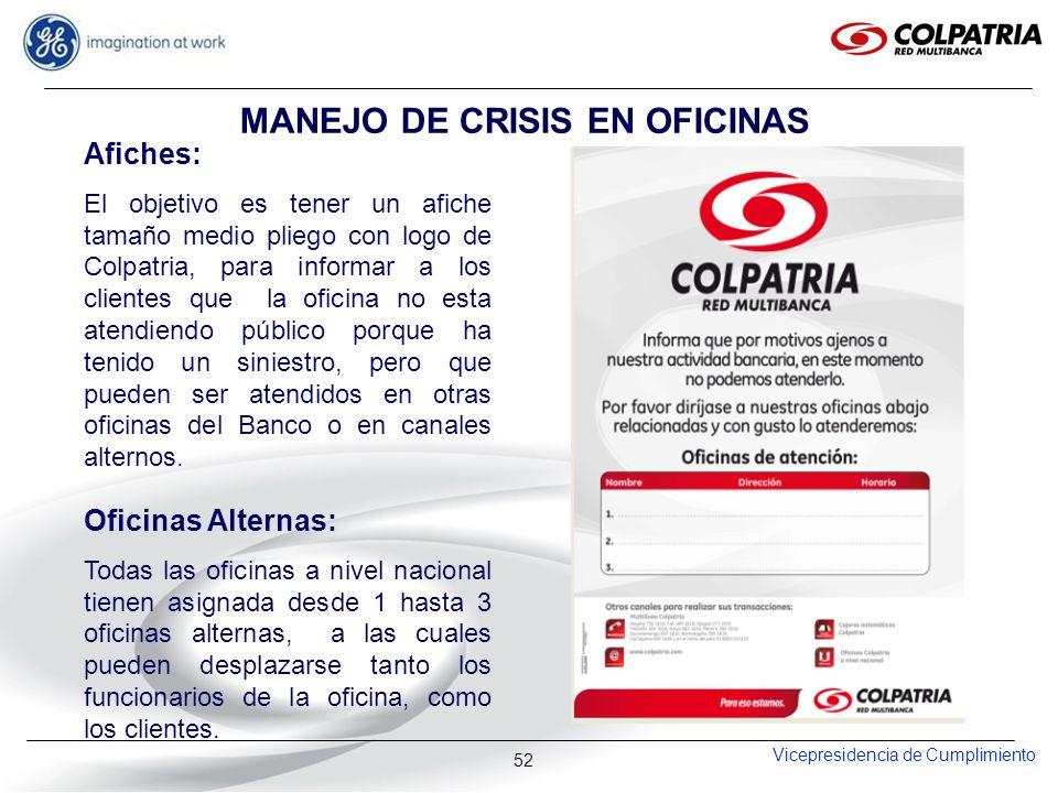 Vicepresidencia de Cumplimiento 52 MANEJO DE CRISIS EN OFICINAS Afiches: El objetivo es tener un afiche tamaño medio pliego con logo de Colpatria, par
