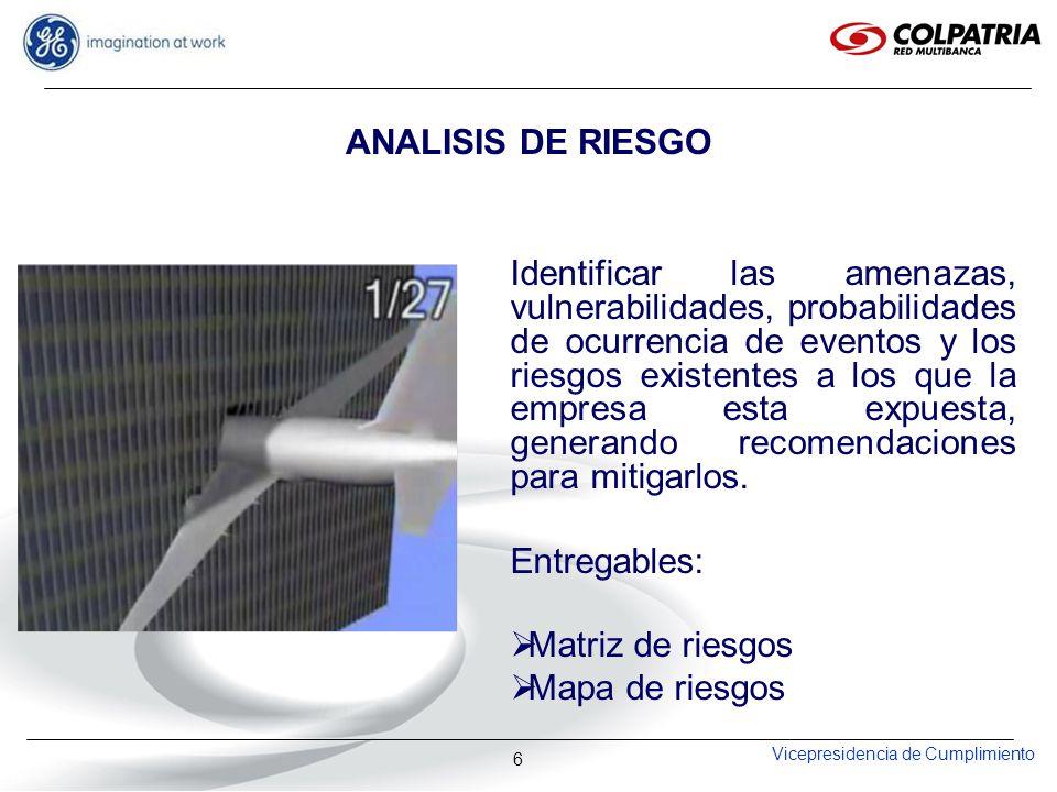 Vicepresidencia de Cumplimiento 6 ANALISIS DE RIESGO Identificar las amenazas, vulnerabilidades, probabilidades de ocurrencia de eventos y los riesgos