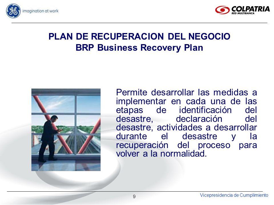 Vicepresidencia de Cumplimiento 9 PLAN DE RECUPERACION DEL NEGOCIO BRP Business Recovery Plan Permite desarrollar las medidas a implementar en cada un