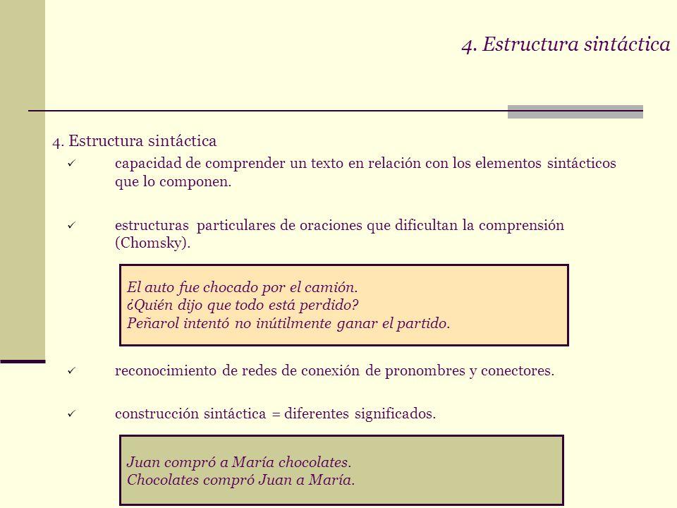 COMPRENSIONCOMPRENSION CONTENIDO Esquema básico Hechos y secuencias Semántica léxica METACOGNICIÓN Intuición del texto Flexibilidad Errores e incongru