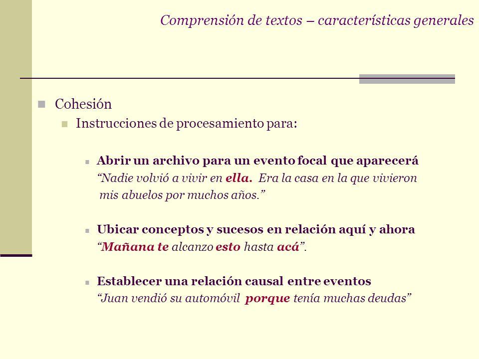 Comprensión de textos – características generales Cohesión Instrucciones de procesamiento para: Abrir un archivo para un evento focal que aparecerá Nadie volvió a vivir en ella.