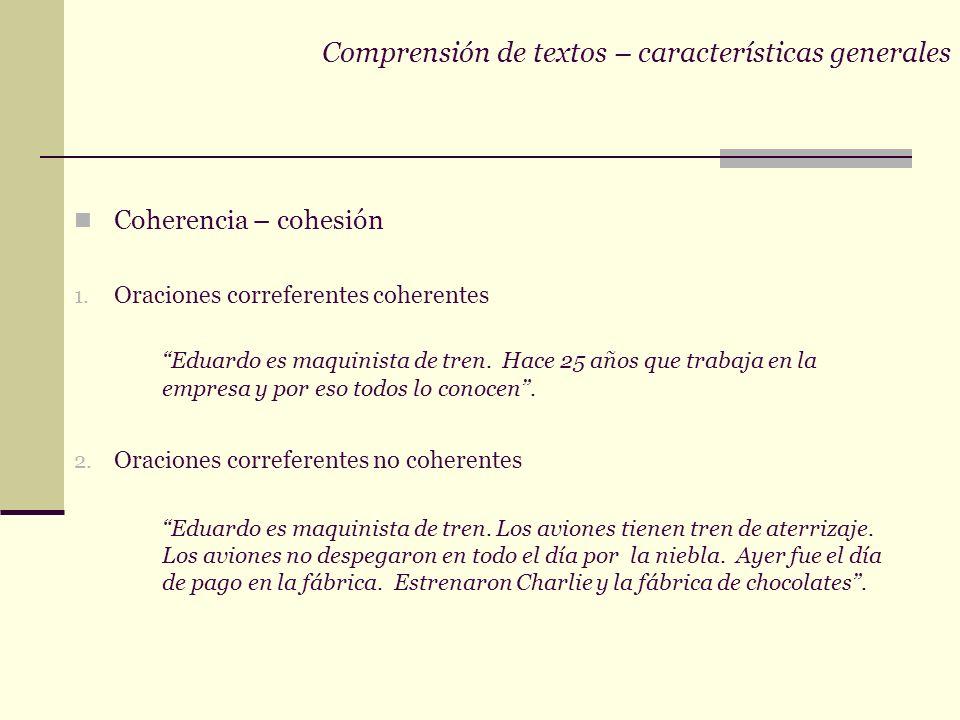 Comprensión de textos – características generales Coherencia – cohesión 1.