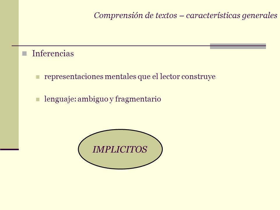 Comprensión de textos – características generales Inferencias representaciones mentales que el lector construye lenguaje: ambiguo y fragmentario IMPLICITOS