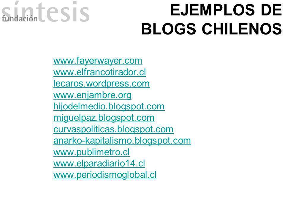 EJEMPLOS DE BLOGS CHILENOS www.fayerwayer.com www.elfrancotirador.cl lecaros.wordpress.com www.enjambre.org hijodelmedio.blogspot.com miguelpaz.blogsp