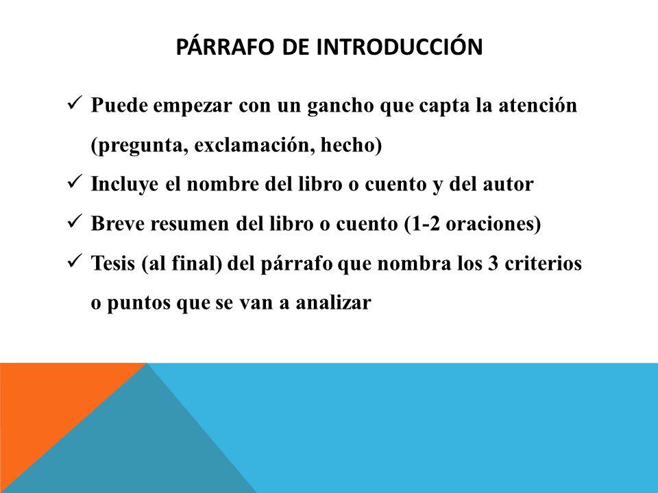 PÁRRAFO DE INTRODUCCIÓN Puede empezar con un gancho que capta la atención (pregunta, exclamación, hecho) Incluye el nombre del libro o cuento y del au
