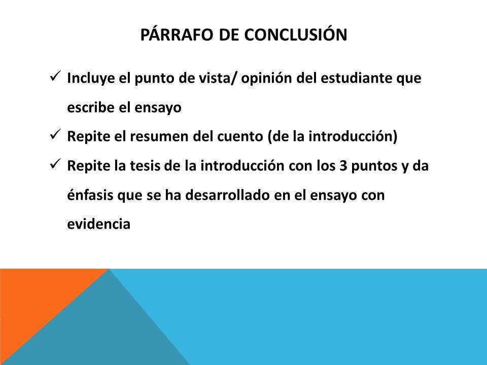PÁRRAFO DE CONCLUSIÓN Incluye el punto de vista/ opinión del estudiante que escribe el ensayo Repite el resumen del cuento (de la introducción) Repite
