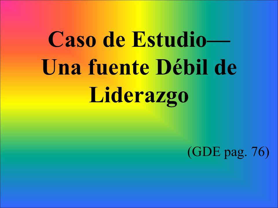 Caso de Estudio Una fuente Débil de Liderazgo (GDE pag. 76)