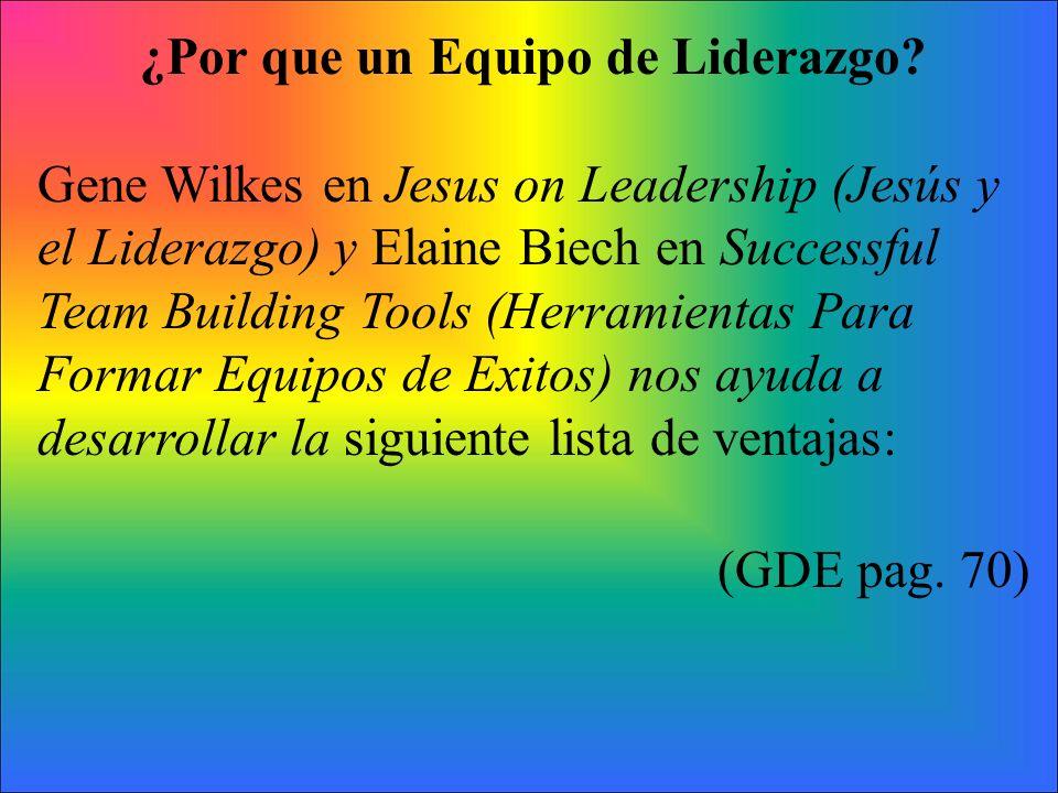 ¿Por que un Equipo de Liderazgo? Gene Wilkes en Jesus on Leadership (Jesús y el Liderazgo) y Elaine Biech en Successful Team Building Tools (Herramien