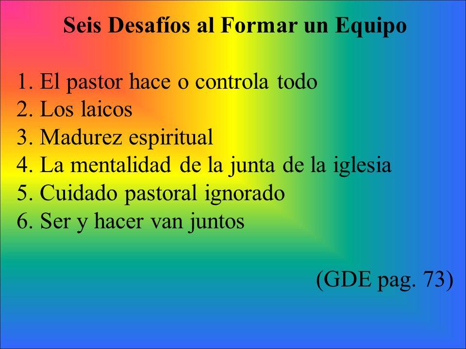 Seis Desafíos al Formar un Equipo 1. El pastor hace o controla todo 2. Los laicos 3. Madurez espiritual 4. La mentalidad de la junta de la iglesia 5.