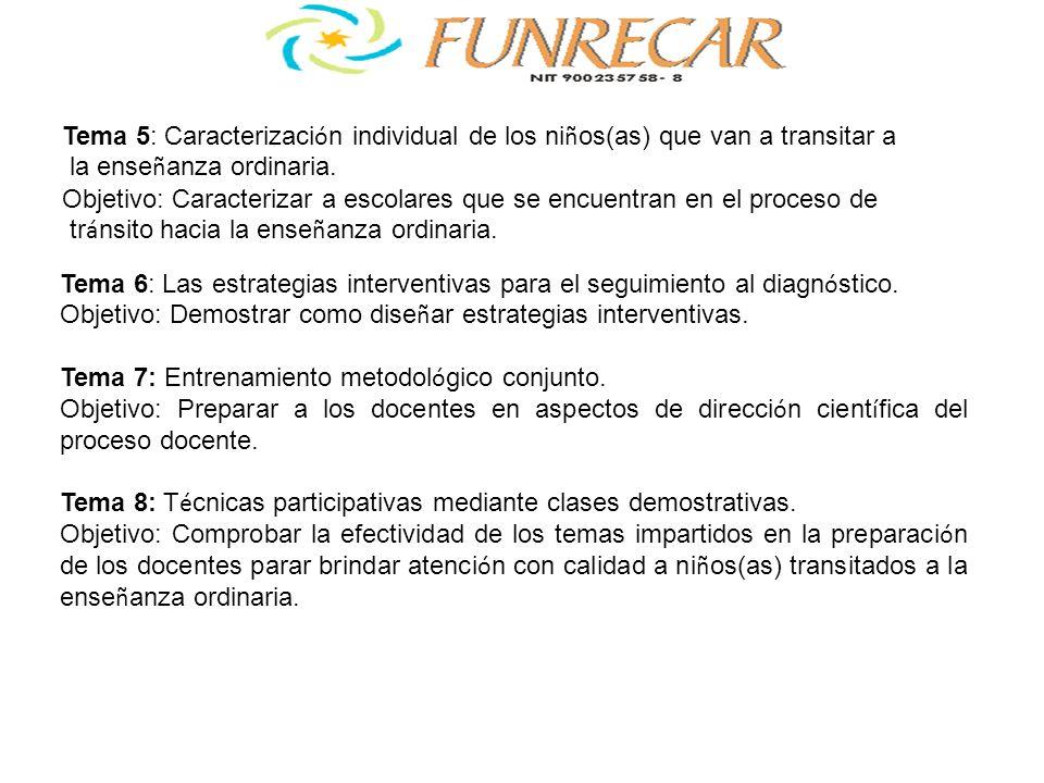 Tema 6: Las estrategias interventivas para el seguimiento al diagn ó stico. Objetivo: Demostrar como dise ñ ar estrategias interventivas. Tema 7: Entr