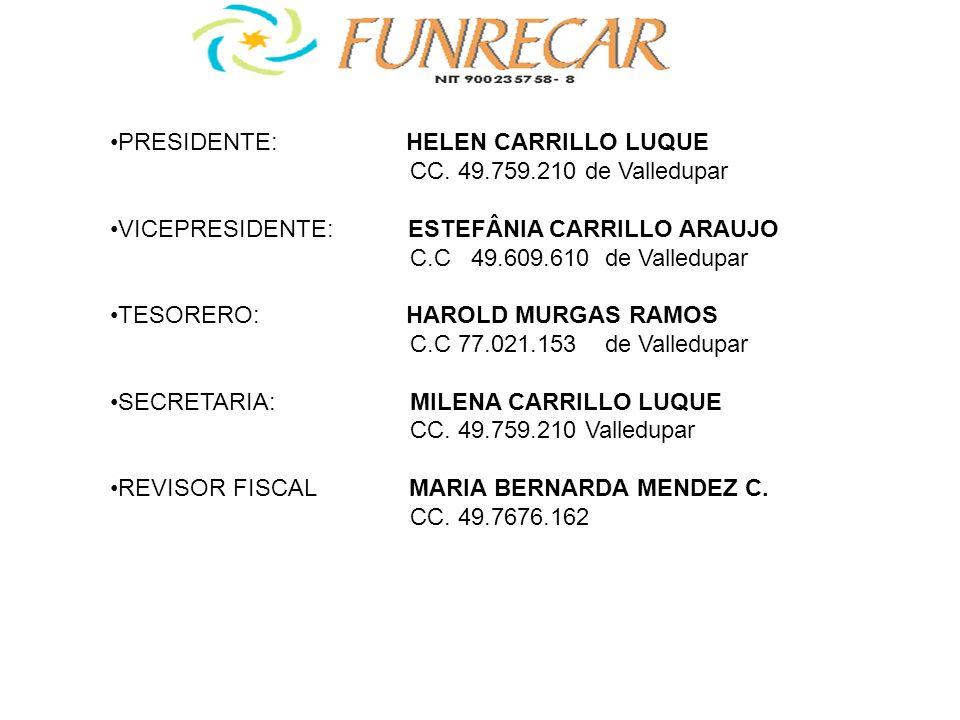 PRESIDENTE: HELEN CARRILLO LUQUE CC. 49.759.210 de Valledupar VICEPRESIDENTE: ESTEFÂNIA CARRILLO ARAUJO C.C 49.609.610 de Valledupar TESORERO: HAROLD