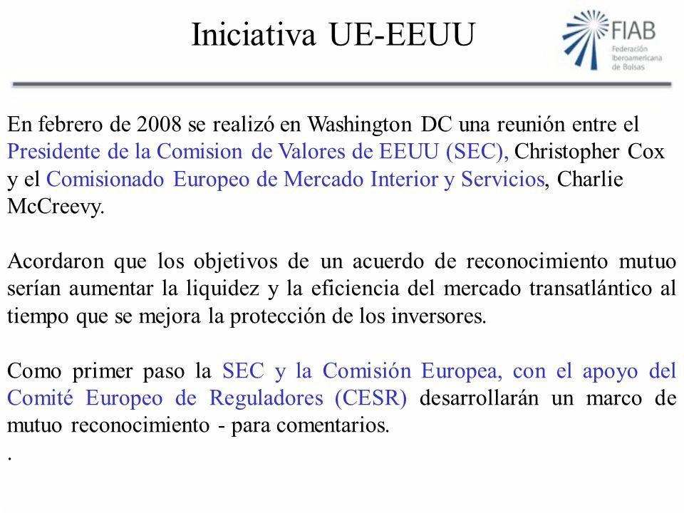 Iniciativa UE-EEUU En febrero de 2008 se realizó en Washington DC una reunión entre el Presidente de la Comision de Valores de EEUU (SEC), Christopher Cox y el Comisionado Europeo de Mercado Interior y Servicios, Charlie McCreevy.