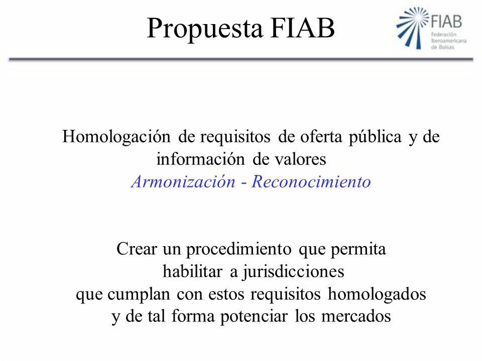 Propuesta FIAB Homologación de requisitos de oferta pública y de información de valores Armonización - Reconocimiento Crear un procedimiento que permita habilitar a jurisdicciones que cumplan con estos requisitos homologados y de tal forma potenciar los mercados