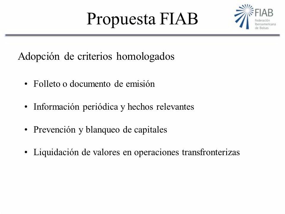 Propuesta FIAB Adopción de criterios homologados Folleto o documento de emisión Información periódica y hechos relevantes Prevención y blanqueo de capitales Liquidación de valores en operaciones transfronterizas
