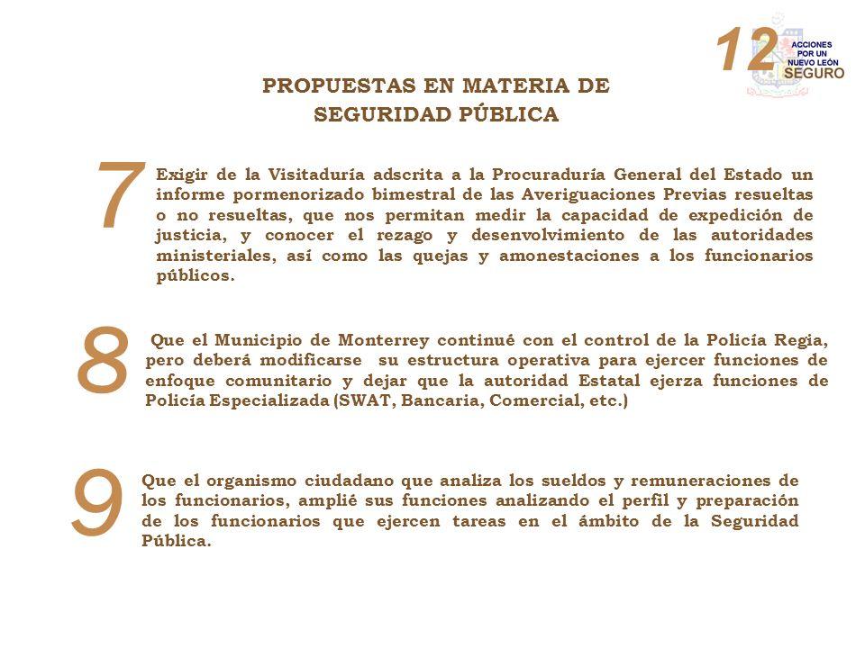 8 Que el Municipio de Monterrey continué con el control de la Policía Regia, pero deberá modificarse su estructura operativa para ejercer funciones de