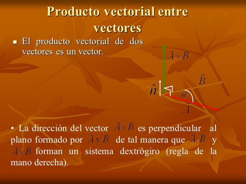 Producto vectorial entre vectores El producto vectorial de dos vectores es un vector. El producto vectorial de dos vectores es un vector. La dirección