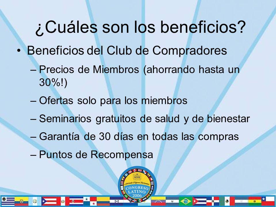 Beneficios del Club de Compradores –Precios de Miembros (ahorrando hasta un 30%!) –Ofertas solo para los miembros –Seminarios gratuitos de salud y de bienestar –Garantía de 30 días en todas las compras –Puntos de Recompensa ¿Cuáles son los beneficios?