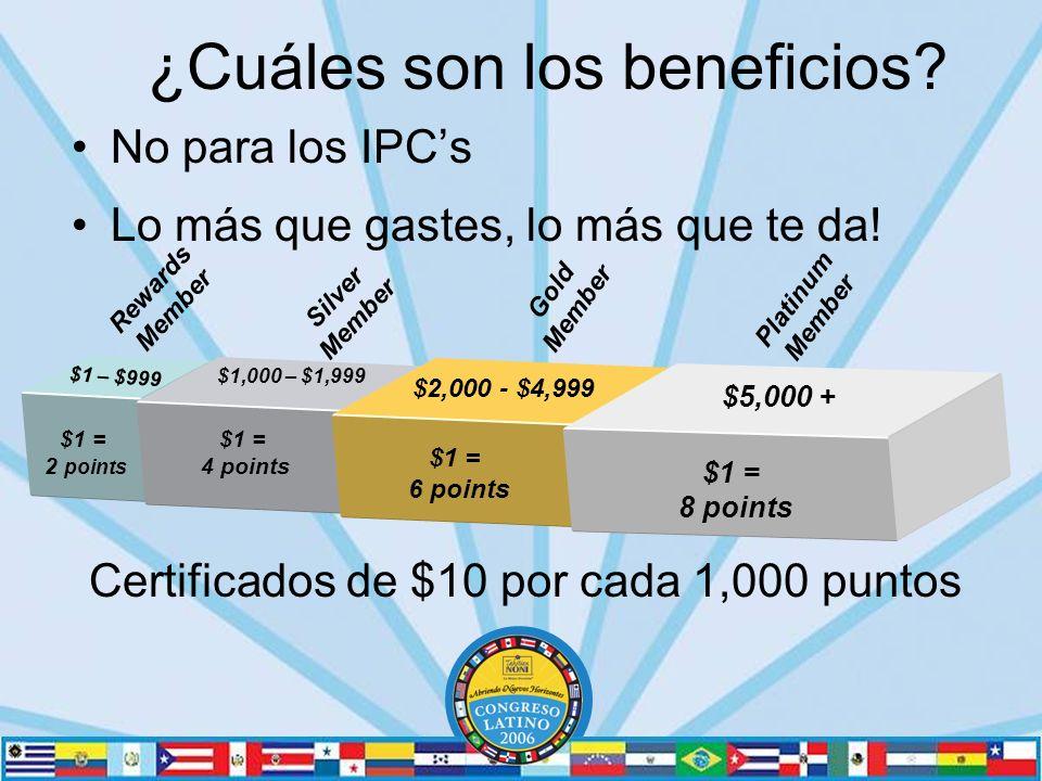No para los IPCs Lo más que gastes, lo más que te da.