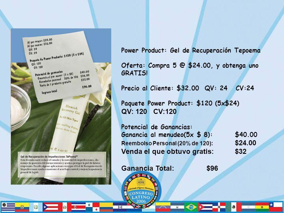 Power Product: Gel de Recuperación Tepoema Oferta: Compra 5 @ $24.00, y obtenga uno GRATIS.