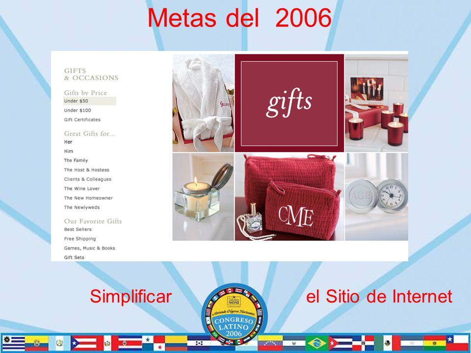 Metas del 2006 Simplificar el Sitio de Internet