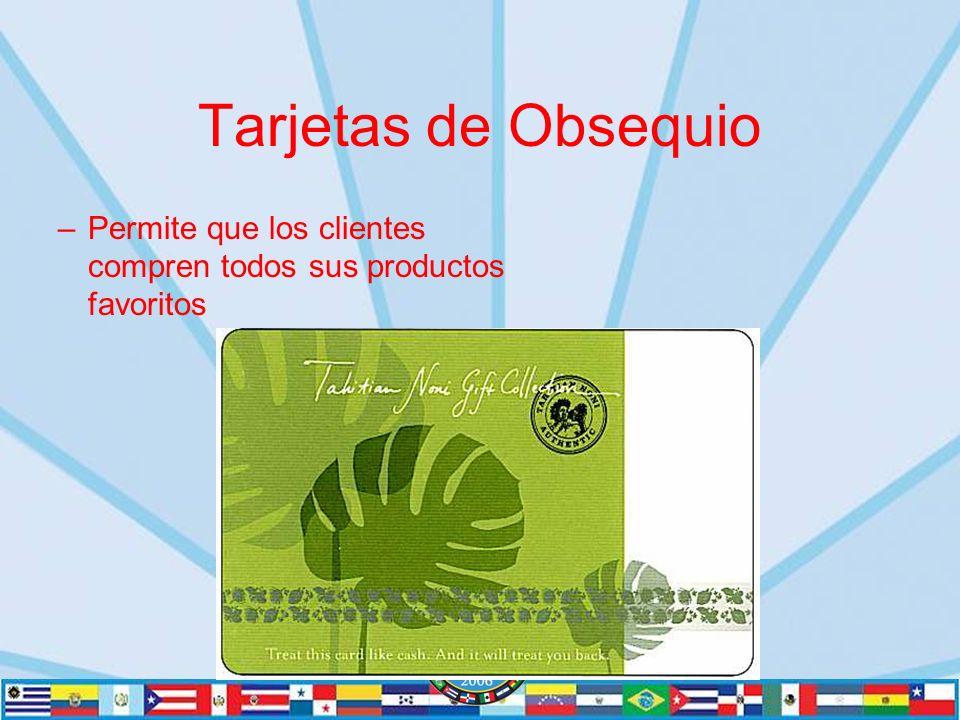 Tarjetas de Obsequio –Permite que los clientes compren todos sus productos favoritos