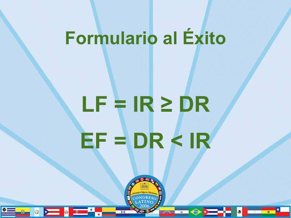 Formulario al Éxito LF = IR DR EF = DR < IR