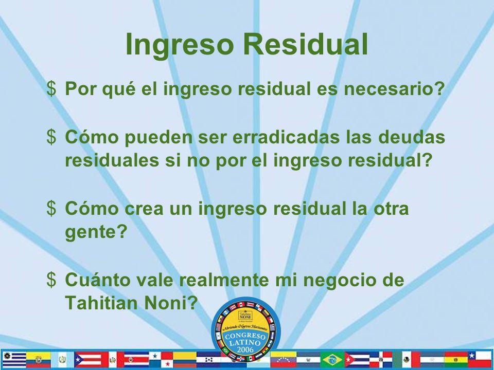 Ingreso Residual $Por qué el ingreso residual es necesario.