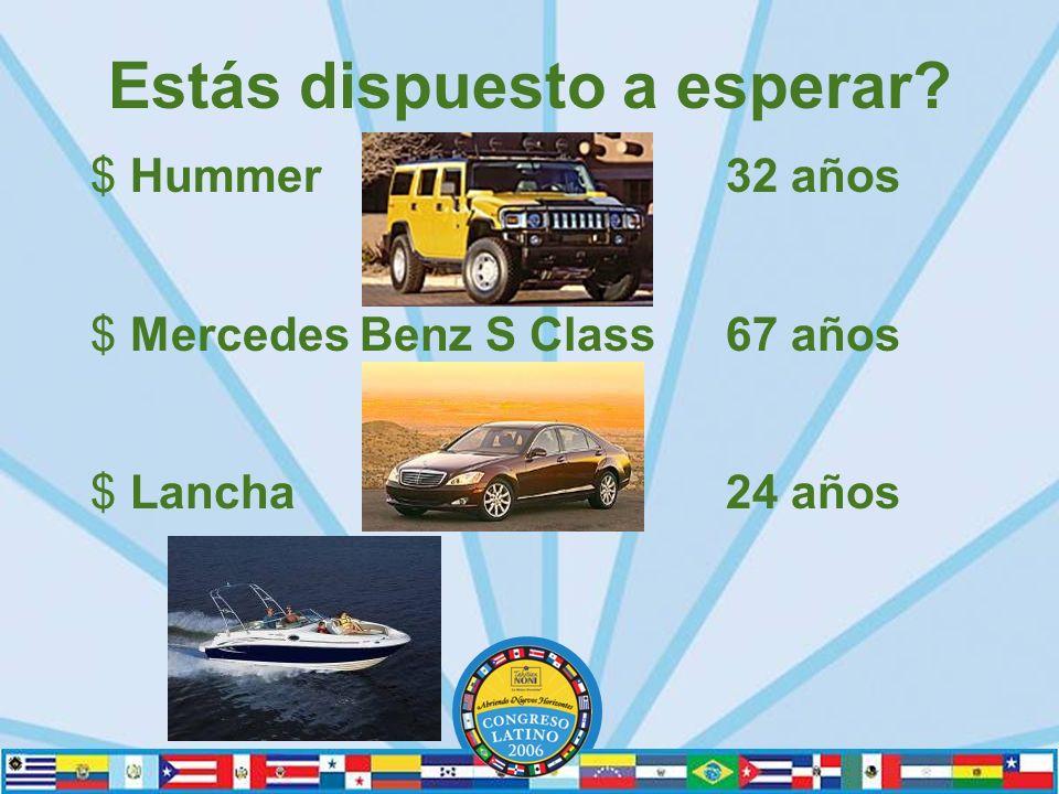 Estás dispuesto a esperar? $Hummer 32 años $Mercedes Benz S Class 67 años $Lancha 24 años