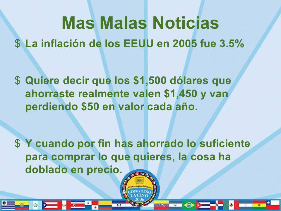 Mas Malas Noticias $La inflación de los EEUU en 2005 fue 3.5% $Quiere decir que los $1,500 dólares que ahorraste realmente valen $1,450 y van perdiendo $50 en valor cada año.