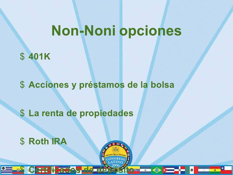 Non-Noni opciones $401K $Acciones y préstamos de la bolsa $La renta de propiedades $Roth IRA $Certificados de depósito
