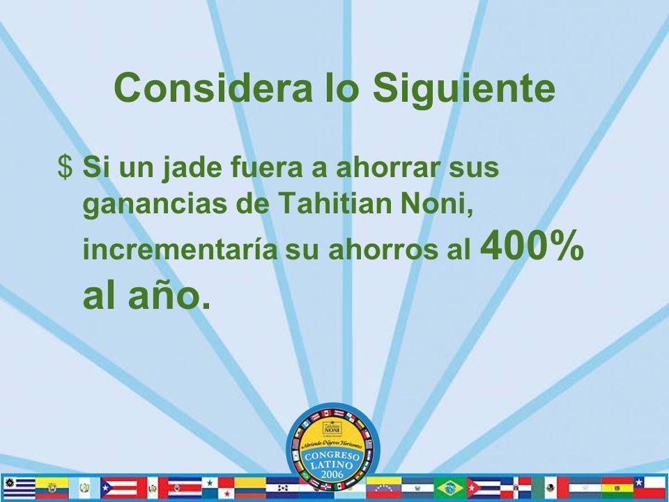 Considera lo Siguiente $Si un jade fuera a ahorrar sus ganancias de Tahitian Noni, incrementaría su ahorros al 400% al año.