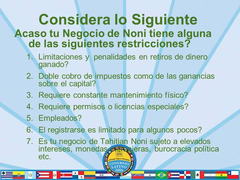 Considera lo Siguiente Acaso tu Negocio de Noni tiene alguna de las siguientes restricciones.