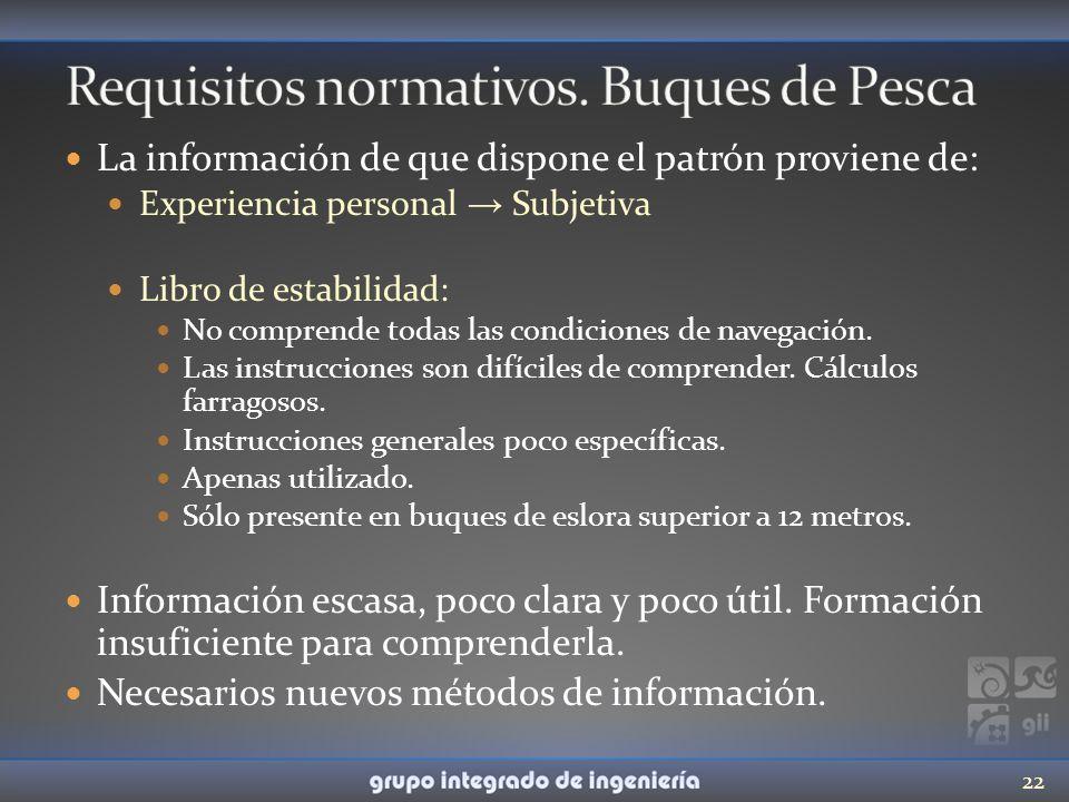 La información de que dispone el patrón proviene de: Experiencia personal Subjetiva Libro de estabilidad: No comprende todas las condiciones de navega