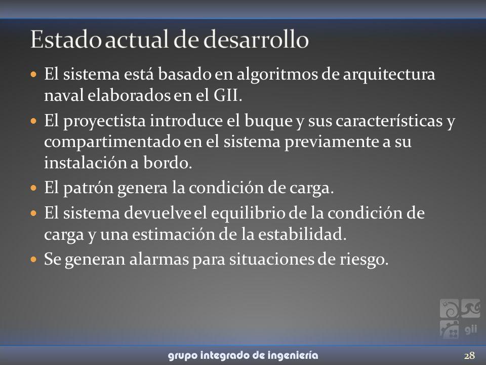 El sistema está basado en algoritmos de arquitectura naval elaborados en el GII. El proyectista introduce el buque y sus características y compartimen