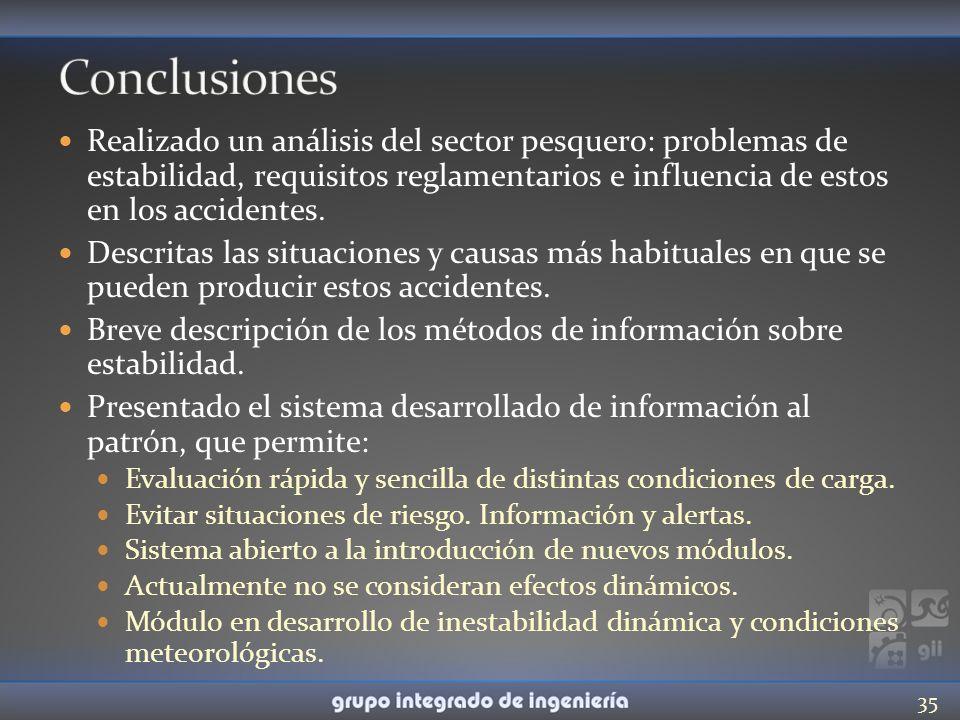 Realizado un análisis del sector pesquero: problemas de estabilidad, requisitos reglamentarios e influencia de estos en los accidentes. Descritas las