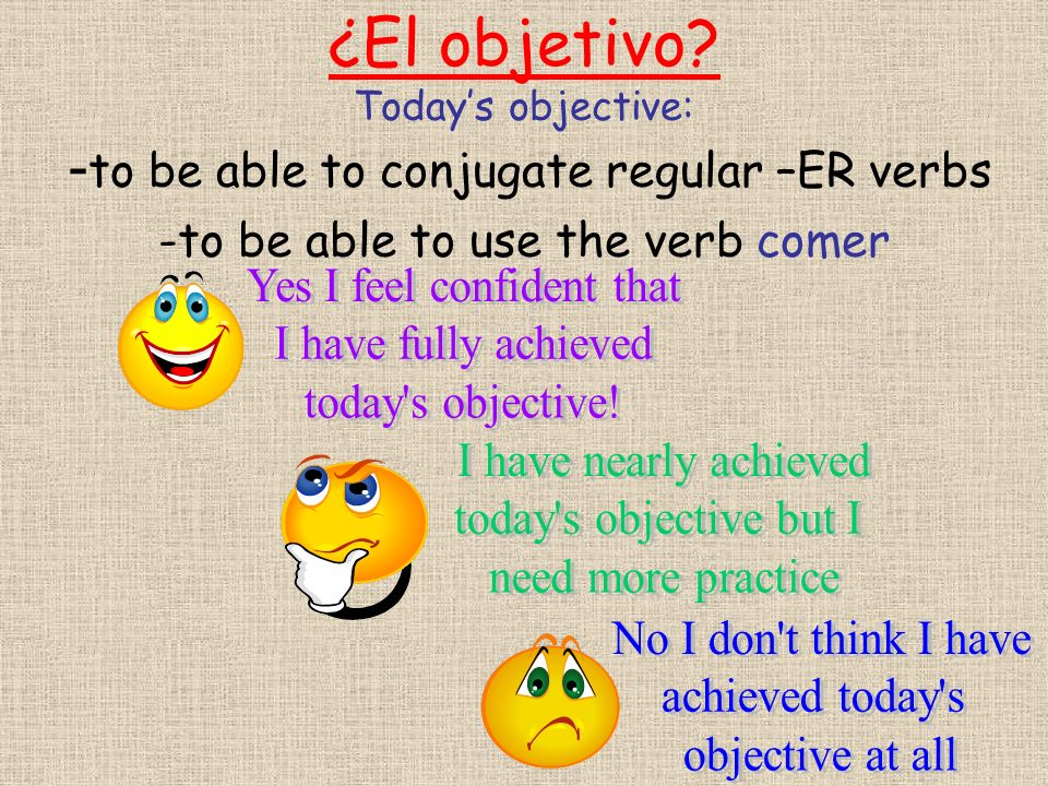 ¿El objetivo? Todays objective: - to be able to conjugate regular –ER verbs -to be able to use the verb comer