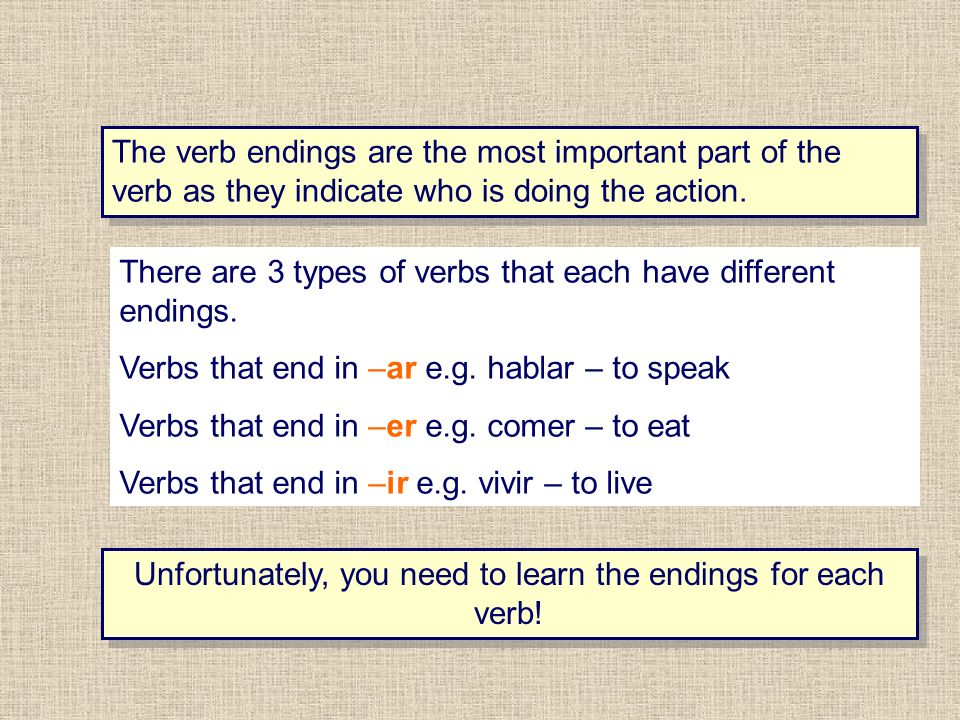 The verb endings are the most important part of the verb as they indicate who is doing the action.