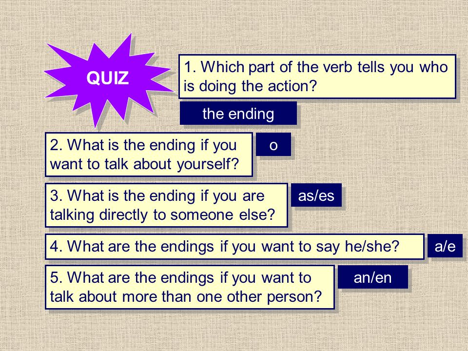1. Which part of the verb tells you who is doing the action? QUIZ 2. What is the ending if you want to talk about yourself? 3. What is the ending if y